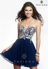 Floral Faviana S7436 Short Homecoming Dresses