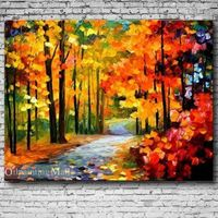 Red Fall By Leonid Afremov Hand Painted Reproduction On Canvas