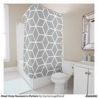Steel Grey Geometric Pattern Shower Curtain