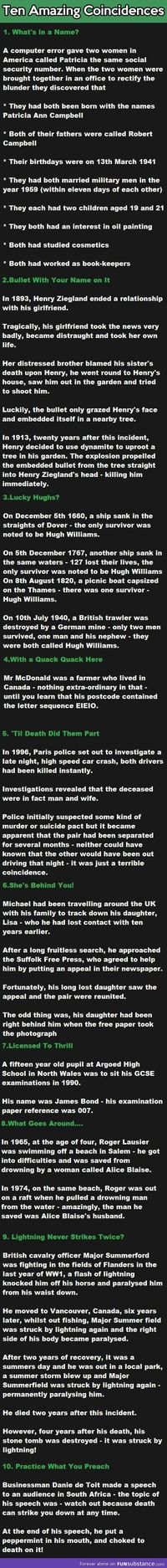 10 Amazing Coincidences.
