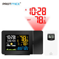 Protmex PT3391 LCD Digital Screen Outdoor Forecast Sensor Clock Wireless Weather Station Thermometer Home Hygrometer Projection