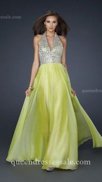Cheap Light Lime Long Chiffon Prom Dresses with Fully Beaded Bust