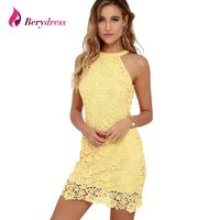 Berydress Womens Elegant Wedding Party Night Club Halter Neck Sleeveless Sheath Bodycon Lace Dress Short $37.00