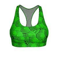 "Exclusively from And Above All YOGA --- ""Circles in Green"" Cut & Sew Sports Bra for just $34.95 with FREE SHIPPING"