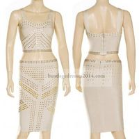 Nude Studded Two Pieces Bandage Suits