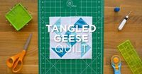 """Click for more details: http://bit.ly/qsnips-tangledgeese Make the easy Tangled Geese quilt block using 2.5"""" strips and snowballed corners! It's so quick and ea"""