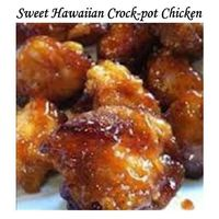 SWEET HAWAIIAN CROCK-POT CHICKEN 2lb. Chicken tenderloin chunks, 1 cup pineapple juice, 1/2 cup brown sugar, and 1/3 cup soy sauce Combine all together, cook in Crock-pot low 6-8 hours...that's it! Done