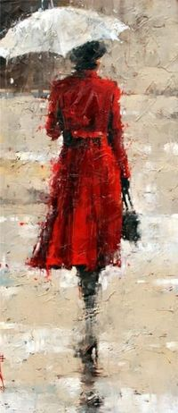 "This Andre Kohn, ""Red coat"" painting reminds me of Pretty Little Liars. #PLL - {contemporary artist figurative woman #impasto oil painting}"
