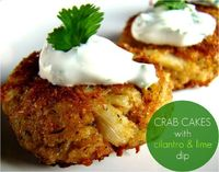 Might just try the dip, not sure about the crab cake recipe ~ Crab cakes with cilantro & lime dip
