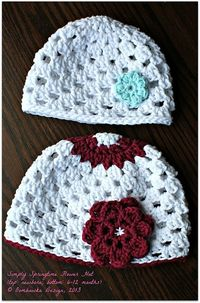 Ravelry: Simply Springtime Flower Hat pattern by Oombawka Design - This is a very simply and light springtime/summer hat pattern - there are 2 different flower embellishments included in the pattern. Newborn, 3-6 month, 6-12 month, 12-24 months, 3-5 years...