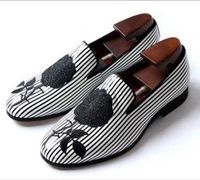 Black and white striped embroidery mens wedding shoes $240.00