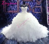 Opulent Organza Ruffled Cathedral Style Wedding Ball Gown $362.99