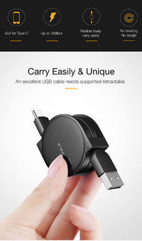 Cafele 2.1A Retractable Type C Fast Charging Data Cable 1M For Oneplus 6 Xiaomi Mi8 Mix 2s Mi A2 S9