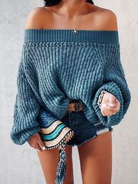 Royal Blue Sweater Lantern Long-sleeved Sweater $45.00