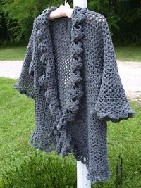 Ravelry: crochetster's Oxford Grey Cardigan - a large version of Doris Chan's free lacy jacket! (link to the free pattern)