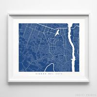 Ciudad del Este, Paraguay Street Map Horizontal Print by Inkist Prints - Available at https://www.inkistprints.com