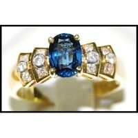 Unique Solitaire 18K Yellow Gold Blue Sapphire Diamond Ring [RS0029]