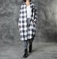 Cotton Black and White Check Flannel Blouses, Midi dress shirt, Cotton Tops, Long Sleeves Tunics, Shirt Women
