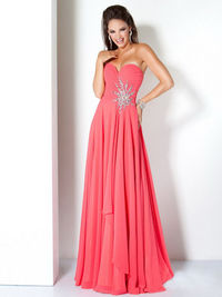 Coral Long Jovani 110967 Pleated Strapless Sequin Waist Prom Dress