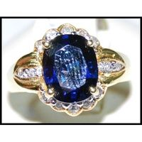 18K Yellow Gold Cocktail Eternity Diamond Blue Sapphire Ring [RS0148]