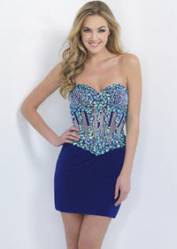 Strapless Beaded Corset Style Blush C306 Peacock Jersey Cocktail Dress