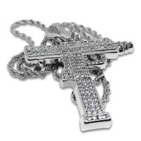 Men's New Silver Plated Sub Uzi Gun Iced Out Pendant Diamond-Cut Rope Chain Necklace £26.70