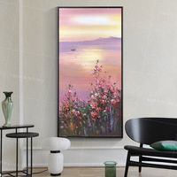 Framed wall art Abstract floral seascape paintings on canvas Original mountain and water flower sunset painting boat wall art palette knife $149.00