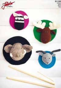 FREE Crocheted Animal Head Trophies Crochet Pattern and Tutorial - Amigurumi Zebra, Wild Boar, Antelope and Moose / Elk (click on flag to get to free pdf pattern)