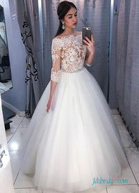H0556 Sexy off the shoulder sheer lace wedding dress ballgown Model: H0556(Worldwide Free shipping)