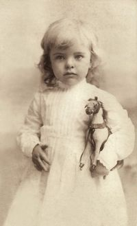 +~+~ Antique Photograph ~+~+ Little one with her toy horse