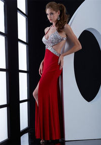 Long Red Beaded Jasz Couture 5460 Slit Evening Dresses