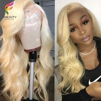 Glueless #613 Blonde Lace Front Human Hair Wigs Brazilian Body Wave Lace Frontal Wig Pre Plucked Honey Blonde Remy Lace Wigs $167.31