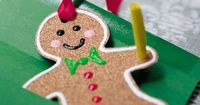 Gingerbread Man Ornament made with sandpaper. We have made these and they are so cute. Tutorial. We also line the back with felt cut from the same pattern & just glued on the back. :) The yellow paper on this example is an invitation to a party ro...
