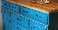 Up-cycled dresser into Kitchen Island. Beautiful Color! I am stealing this for a dresser that I have, just need to repaint mine. Does anyone know where to stick the microwave in a tiny kitchen when there is no counter space for it and you want this in the...