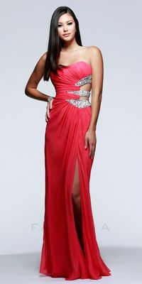 Chiffon Sequined Strapless Elegant Ruched Side Cut Out Prom Dress