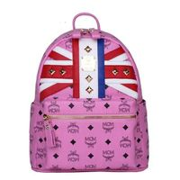MCM Small Stark Studded British Flag Backpack In Pink