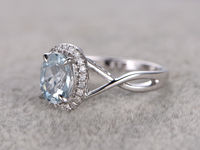 7X9MM OVAL CUT AQUAMARINE AND DIAMOND ENGAGEMENT RING 14K WHITE GOLD HALO TWISTED CURVED LOOP
