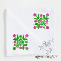 Flowers Square Quilt Block Embroidery Design - 2 sizes $2.5