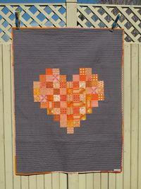 Modern Orange heart on grey quilt / throw / by bluesquarequilting