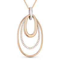 0.31ct Round Cut Diamond Pave Oval-Stack Pendant & Chain Necklace in 14k Rose & White Gold