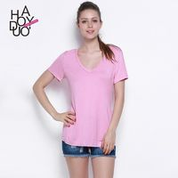 Vogue Sexy Simple V-neck Short Sleeves Accessories T-shirt - Bonny YZOZO Boutique Store