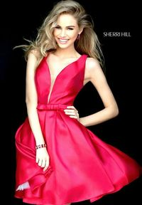 Red Illusion V Neck Sherri Hill S50506 Pleated Homecoming Dresses