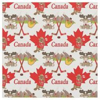 Proudly Canadian Beaver Moose Fabric Small Print