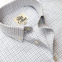 Grey Blue Tattersall Checks Button Down Cotton Shirt �'�1699.00