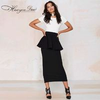 Vogue Split Slimming High Waisted Frilled Black - Bonny YZOZO Boutique Store