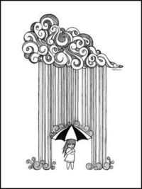 Rain and Umbrella.. maybe I can draw this if I have this as a guide..