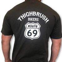 "THIGHBRUSH® BIKERS - ""ROUTE 69"" - Men's T-Shirt - Charcoal Grey and White"