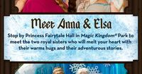 Tips and information on where to meet Anna and Elsa, from Frozen, at Disney World and a list of attractions that include Princess Anna & Queen Elsa.