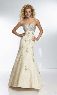 2014 Champagne Beaded Mermaid Lace Prom Dresses