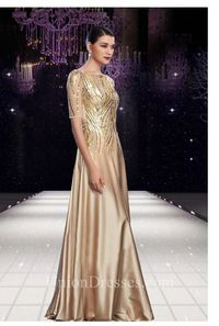 Bateau Neck Long Gold Shinning Chiffon Sequin Beaded Modest Evening Dress With Sleeves